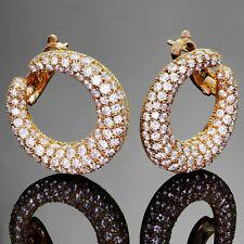 Iconic CARTIER Diamond 18k Yellow Gold Hoop Earrings