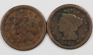 Lot of (2) Braided Hair Early US Copper Large Cents 1C - 1845 & 1851