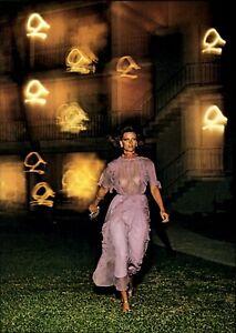 1976 Helmut Newton See Through Purple Dress Beautiful Model Art Photo Engraving