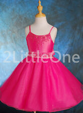 Beaded Wedding Pageant Formal Dress Flower Girls Party Birthday Size 2T-7 FG020