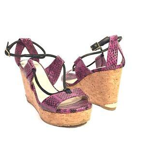 JIMMY CHOO Womens Python Snakeskin Leather Cork Wedge Sandals Purple (MSRP $750)