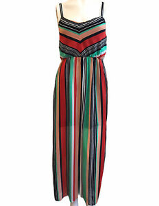 Junior's Size 7 Maxi Dress Lined Summer Striped Colorful Rainbow Sheer Ruby Rox