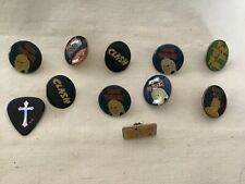 Vintage 1980s Enamel Heavy Metal Pin Pinback Nos ,Clash,Quiet Riot,Iron Maiden,