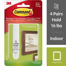Command by 3M Large Picture Frame Hangers, White, Create Gallery Walls 6 Pairs