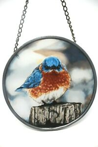 1979  Hand Painted Bluebird Glass Suncatcher by Glassmasters Signed by Artist