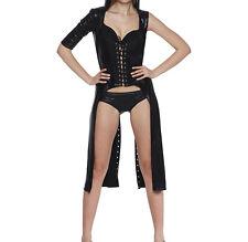 Women PVC Look Black Gothic Lingerie Bandage Long Dress & Pants Dance Clubwear