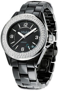 M&M Moments & Motions KERAMIK Damenuhr schwarz Damen uhr Armbanduhr M11829-896