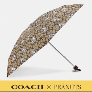Coach X Peanuts UV Protection Mini Umbrella In Signature Snoopy Print New  4325