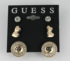 Guess 3 Piece Set Gold Tone Earrings Round Hearts Crystals Logo Post/Stud (New)