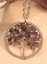 Wire Wound Silvertn Violet & Amber Crystal Stones Tree of Life Pendant Necklace