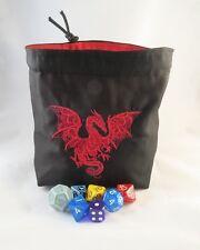 Dragón Negro y Rojo Cuadrado Dado Bolsa Reversible Bolsa De Cordón Azulejo RPG D&D