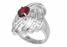 4.29ct Ruby and Diamond Set in 14K White Gold Ring