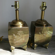 Brass Table Lamps Asian Etched Motif  Chinoiserie Hollywood Regency Rewired
