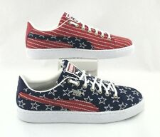 PUMA BASKET USA Stars Stripes Shoes Red/Blue EMBROIDERED Mens US 9/42 RARE