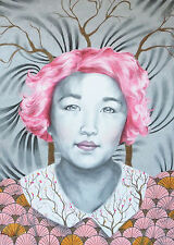Asian Cherry Blossom Tree Branch Pink Hair - ACEO Archival Print 4 of 10 Matte