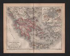 Landkarte map 1876: GRIECHENLAND. Greece Athen-Piräus Böotien-Attika Peloponnes