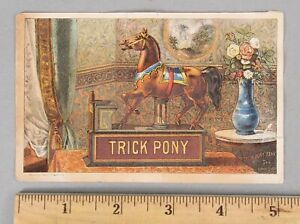 Antique Victorian Advertising Trade Card Mechanical Trick Pony Cast Iron Bank NR