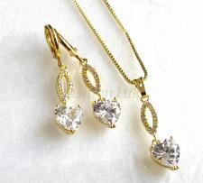 Damen 14K vergoldet künstlicher Diamant Lang Herz Ohrringe Halskette