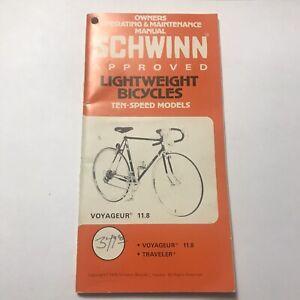 Schwinn Voyageur Owners Manual Ten Speed Bicycle Booklet Vintage 1979