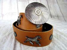 "Vintage Lily Farouche Munich Horse Studded Belt XL 37"" Tan Silver Hardware"