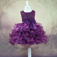 Infant Baby Girls Wedding Pageant Birthday Party Princess Lace Tutu Bow Dress