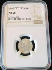 1893 CEYLON SILVER 25 CENTS 25C QUEEN VICTORIA NGC AU 58 BEAUTIFUL BRIGHT COIN