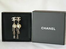 Authentic CHANEL Faux Pearl CC Chain Tassel dangle Earrings~STUNNING
