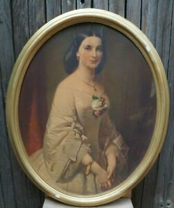 Early 20th Century Antique European Portrait of a Lady Lithograph Print