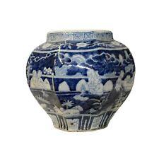 Chinese Blue White Oriental Scenery Porcelain Pot Vase ws863