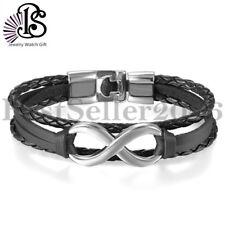 Handmade Braided Leather Surfer Charm Infinity Men Women Friend Bangle Bracelet