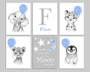 Safari Animals With Blue Balloons Personalised Baby Nursery Prints Childrens Art