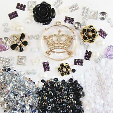 DIY 3D Bling Cell Phone Case Deco Kit: Frozen Rhinestone Crown w/ Black Rose
