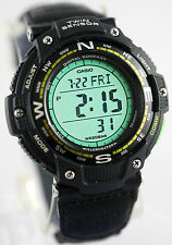 Casio SGW100B-3A2 Twin Sensor COMPASS Watch Thermometer Green Cloth Band New