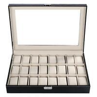 24 Slots Big Watch Display PU Leather Case Organizer Box Jewelry Holder Storage