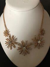 Goldtone Rhinestone Starburst/Snowflake Necklace