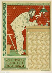 "Original 1897 stone lithograph ""Paul Hankar Architecte"" by Adolphe Crespin"