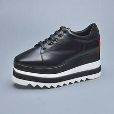 Ladies Platform Creepers Striped Wedge Heel Leather Casual Shoes Pumps Sneakers