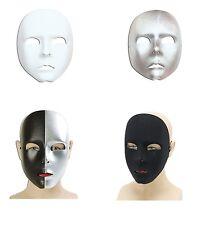 #ADULT PLAIN WHITE / BLACK SILVER FACE MASKS CARNIVAL FANCY DRESS MASQUERADE