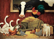 BARN ART PRINT - All My Friends by Lowell Herrero 7x5 Farm Cow Chickens Poster