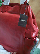 NWT Cole Haan Logan Tote GROMMET Unit II color Lantern Red Leather STYLE B36497:
