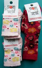 LOT 3 PAIRES DE CHAUSSETTES 25/26 fille rose fleurs STORY coton NEUF