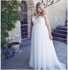White Chiffon Beach Lace Summer Long Plus Size Wedding Dress custom size Custom