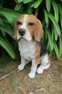 BEAGLE SITTING DOG MEMORIAL ANIMAL GARDEN STATUE ORNAMENT  SCULPTURE
