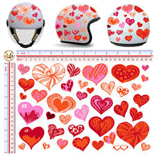 Adesivi casco cuori rossi arancio sticker helmet hearts red orange 40 pz.