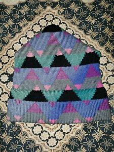 Vtg WINTER SKI HAT 100% Wool HAND MADE IN USA Top Notch Knits REDMOND WASHINGTON