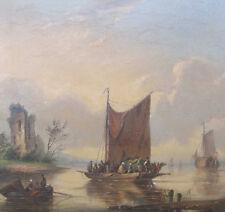 HENDRIKS Frederik 1808 - 1865  NIEDERRHEIN Arnhem Rijn Boote Arnheim Fähre FERRY