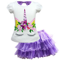 Kids Baby Girl Unicorn Pattern T-Shirt + Mesh Tutu Dress Skirt Party Outfit 2PCS
