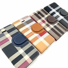 LG G4 G5 High Quality Leather Wallet Flip Plaid Stripe Tartan Cover Case Stand