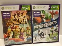 Lot of 2 Xbox 360 Kinect Games (Kinect Adventures, Motion Sports) with manuals