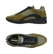 DSQUARED2 MEN'S GREEN/BLACK TECHNO FABRIC W/SUEDE EFFECT SNEAKERS US 11 EU 44 DM
